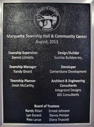 2013 TOWNSHIP COMMUNITY CENTER DEDICATION PLAQUE